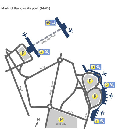 Barajas Airport Terminal Map Madrid Barajas Airport (MAD) Terminal Maps   Map of all terminals